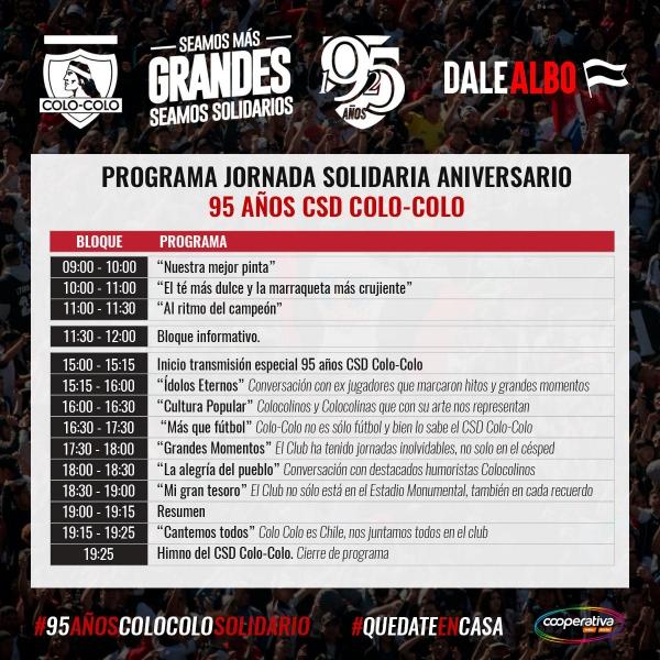 Así será la celebración solidaria del CSyD Colo Colo en el 95° aniversario del club